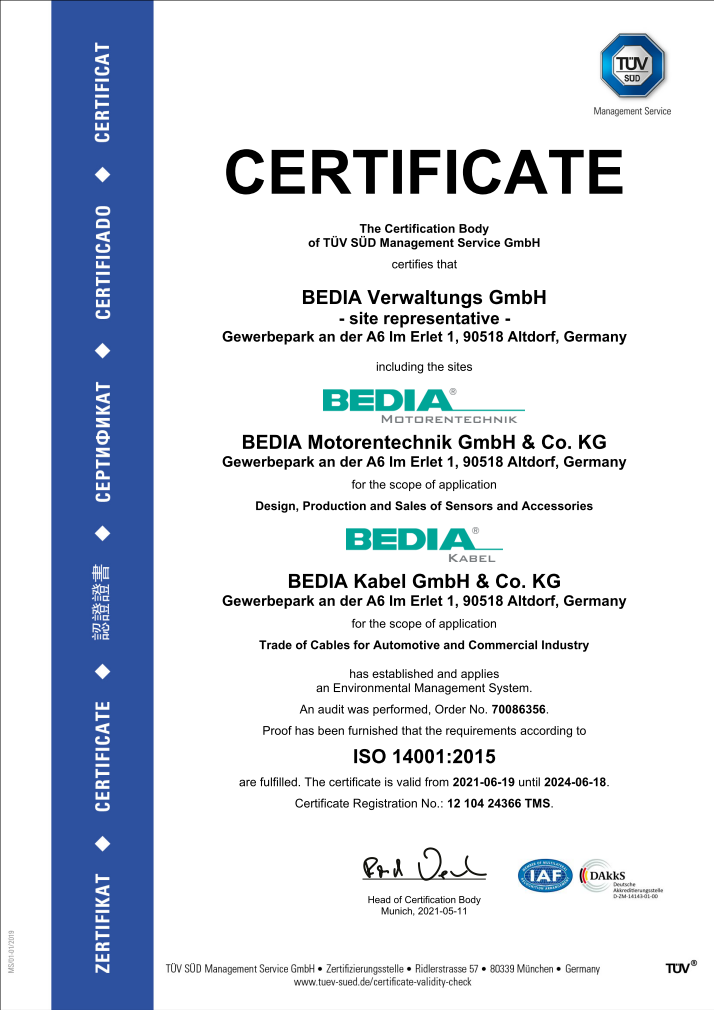 BEDIA ISO 14001 Certificate