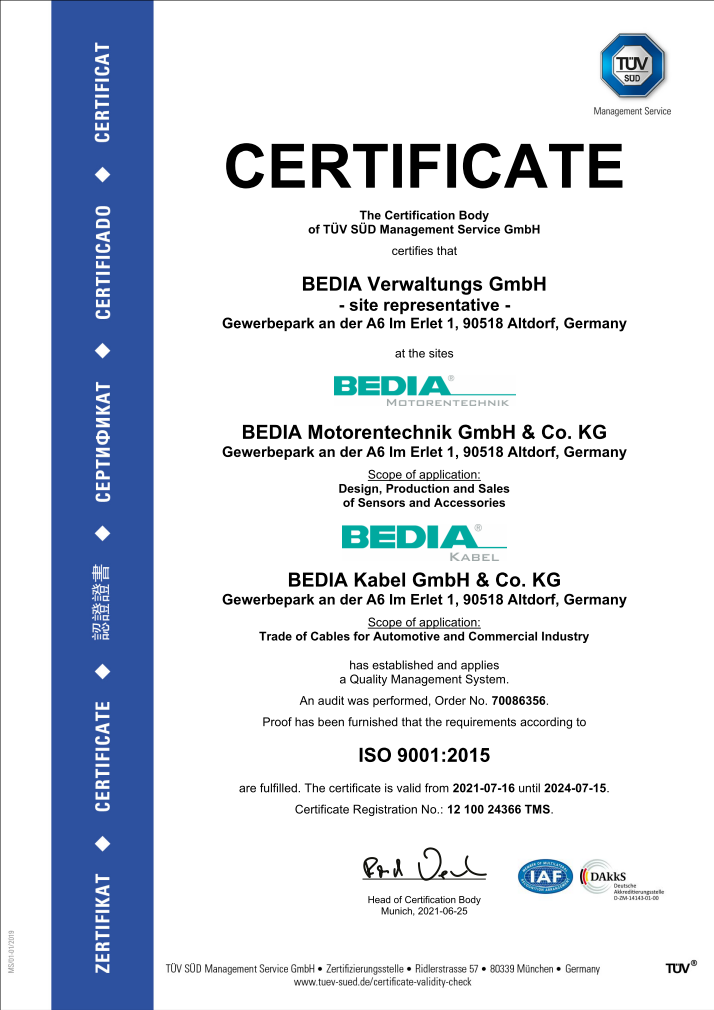 BEDIA ISO 9001 Certificate
